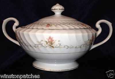 Harmony House Rosemont Round Covered Vegetable Bowl Pink Roses Gold Trim Swirled
