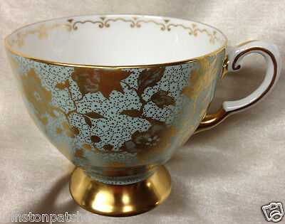 Royal Tuscan England Trieste Footed Cup 8 Oz Gold Flowers On Sea Foam Green