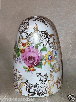 """Lord Nelson 2528 1 Hole Salt Pepper Shaker 2 1/2"""" Floral Sprys On Gold Chintz"""