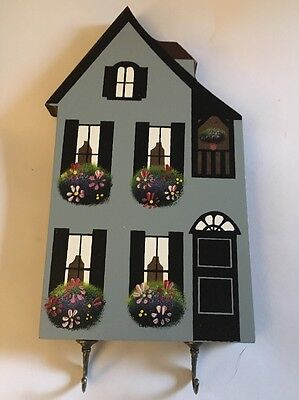 Shelia's Collectibles Wood Wooden Houses Wall Hanging Key Holder