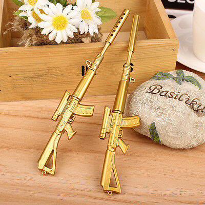 Creative Stationery Gold Rifle Shape Design Black Ink Ballpoint Pen Writing Pens