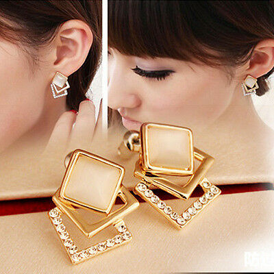 Women 1 Pair Ear Stud Hollow Crystal Fashion Jewelry Gold Plated Earrings CHI