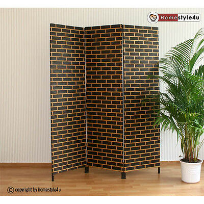 3 part Wicker Room Divider Screen in black-brown Paravent partition screens