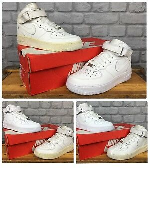 reputable site 73ea9 68ebd Nike Air Force 1 Mid 82 Basketball White Leather Trainers Childrens Boys  Ladies