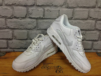 Nike Air Max 90 Uk 5 / Eu 38 White Leather Trainers Rrp £95 Childrens Ladies