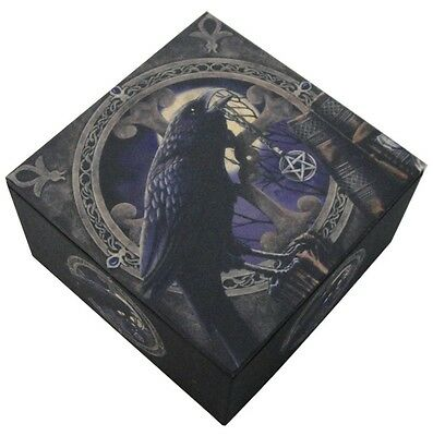 Pagan Witchcraft Raven Pentagram Trinket Jewelry Keepsake Mirror Box Lisa Parker