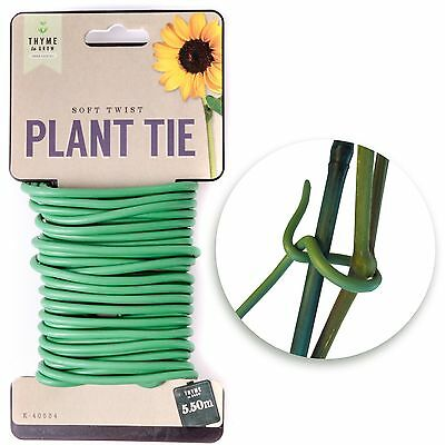 5.5m GREEN SOFT TWIST PLANT TIES Reusable Strong Plant Training Support Wire