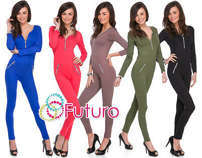 Womens Jumpsuit Zip Neck Pockets Long Sleeve Playsuit Catsuit Sizes 8-14 1078