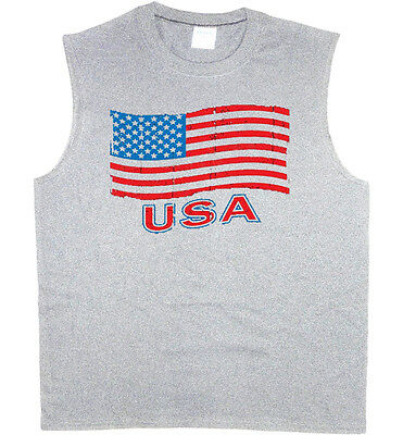 87e90de2fd9fc Men s sleeveless shirt USA pride American flag 4th of july muscle tee tank  top