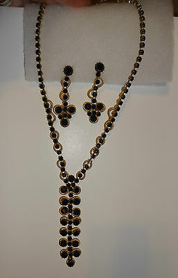Vintage Gold & Black Rhinestone Necklace and Clip On Earrings Set Gorgeous!