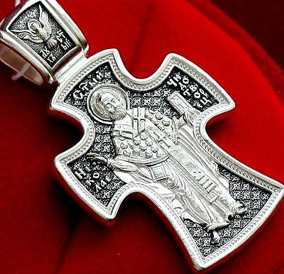 Big Russian Orthodox Cross, Silver 925.Saint Nicholas Wonderworker Patron. New !