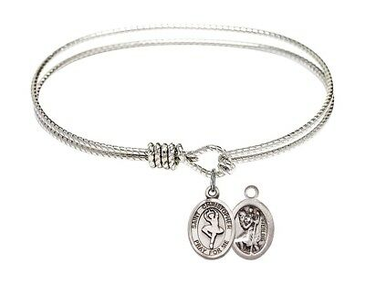 Silver Tone  Bangle Bracelet with St Christopher Ballet Dance Charm, 7 1/4 Inch