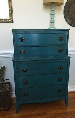 Antique Federal Hepplewhite Tall Dresser Chalk Painted Chest Of Drawers 1930's