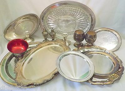 Vintage Silverplate Platters Serving Plates Salt & Pepper Trays Lot Sterling