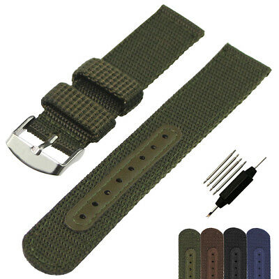 Fabric Woven Nylon Watch Strap Band Silver Buckle Replacement Belt 18 20 22 24mm