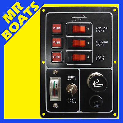 SWITCH PANEL 3 SWITCH + BATTERY TESTER + CIGARETTE LIGHTER Marine Boat FREE POST