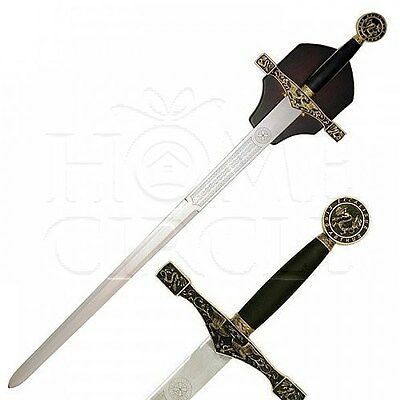 Gold Excalibur Sword Wood Wall Plaque 114cm Home Deco Knife Medieval Patterned