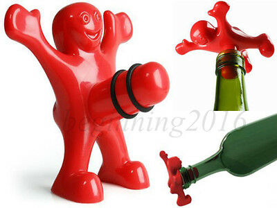 Home Bottle Stoppers Sir Happy Person ABS Wine Bar Cork Cap Tool Xmas Gift