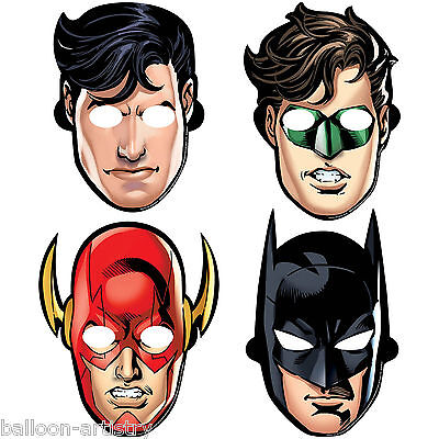8 DC Comics JUSTICE LEAGUE Children's Birthday Party Paper Character Face Masks