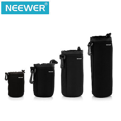 Neewer 4-Pack Protective Lens Neoprene Pouch Set for Canon Nikon(Black)