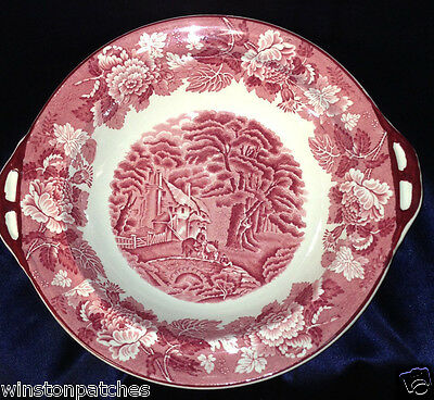 Enoch Wood & Sons Burslem English Scenery Pink Handled Vegetable Bowl 11 1/4""
