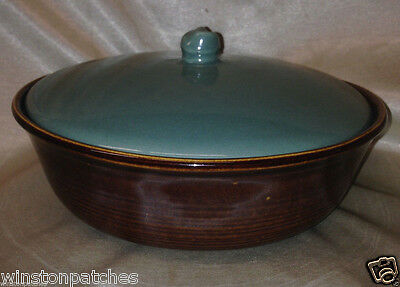 Red Wing Pottery Usa Village Green Casserole 1 Quart Green Lid & Brown Dish