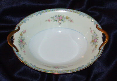 "Noritake Avon 9.5""oval Vegetable Serving Bowl Gold Trim Blue Scroll Floral Spray"
