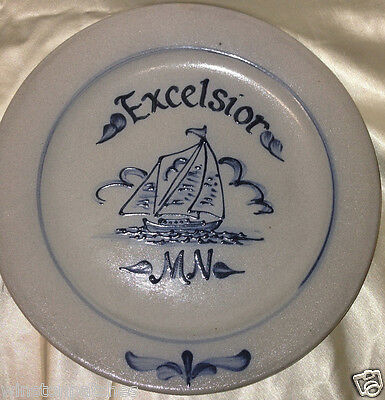 "Rowe Pottery Works Salt Glazed Excelsior Mn Souvenir Plate 10 3/4"" Blue Sailboat"