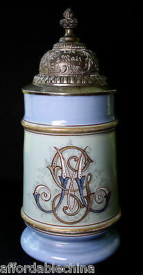 Gorgeous Antique Stein with RARE Colored Lithopane Hand Painted Crest