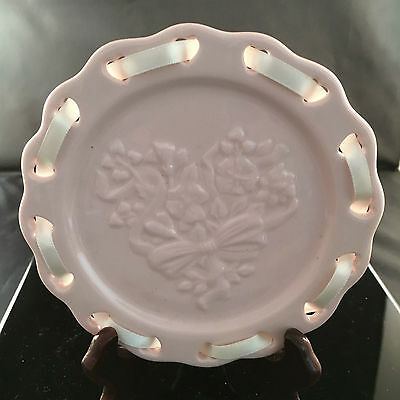LONGABERGER Pottery PINK Sweetest Heart Candle PLATE New in Box