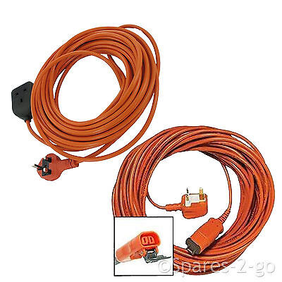 20 Metre Mains Cable & Lead Plug + Outdoor Extension Socket fits Flymo Lawnmower