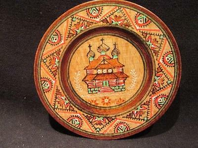 """Russia 1999 Beautiful Hand Painted 4 3/4"""" Wooden Plate Church Design"""