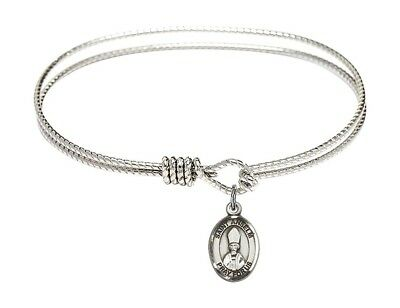 Silver Tone Bangle Bracelet with Saint Anselm of Canterbury Charm, 7 1/4 Inch