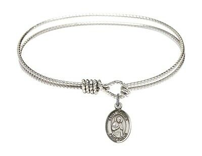 Silver Tone Bangle Bracelet with Saint Isaac Jogues Charm, 7 1/4 Inch