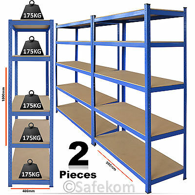2 Bay 5 Tier Heavy Duty Boltless Metal Seel Shelving Racking Shelve Storage Unit