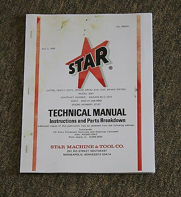 Star Machine 2001 / 2010 Heavy Duty Brake Lathe Instructions & Parts Breakdown