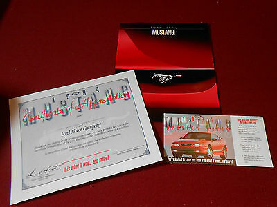 1994 FORD MUSTANG 26 p. BROCHURE / CATALOG + RARE PROSPECT CARD & CERTIFICATE!