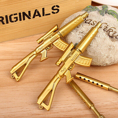 Fashion Novelty Cute Gold Rifle Shape Design Black Ink Ballpoint Pen Stationery