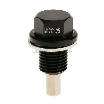 M12X1.25 Anodized Magnetic Engine Oil Pan Drain Bolt Plug for Toyota Black