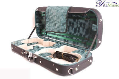 A Double Violin Hard Case Plywood Shell , Black HZV12