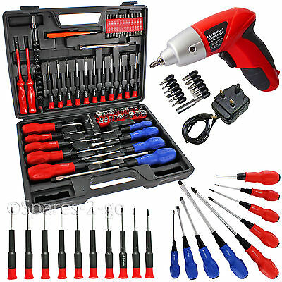 84 Pce Cordless Rechargeable Screwdriver Set Insulated Magnetic Phillips Torx