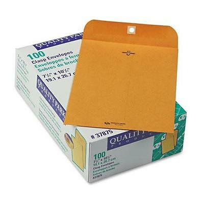 Quality Park 37875 Clasp Envelope, 7 1/2 x 10 1/2, 28lb, Brown Kraft, 100/Box