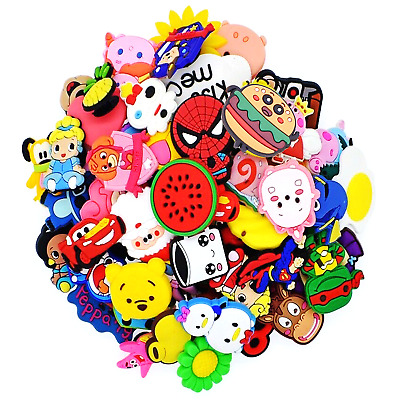 NEW 50pcs Different Hot Cartoon Shoes Charms for Clog&Jibitz Silicone Wristband