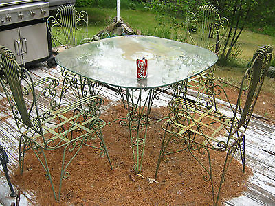 Antique Victorian Garden Plant Patio Home Wrought Iron Glass Table 4 Chair Set