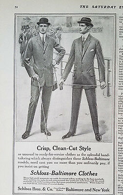 1912 Vintage Schloss Baltimore Mens Crisp Clean Cut Style CLOTHES Fashion Ad