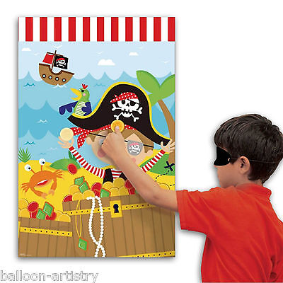 Cute Little Pirate Children's Birthday Treasure Chest Place The Coin Party Game
