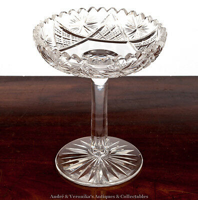 Footed BON BON Dish Tazza - Wheel Cut Excl. Cond. Vintage High Lead Glass Irish
