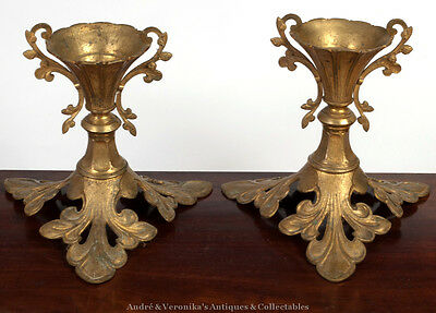 Antique Unusual Pair of ORMOLU Brass Candlesticks Gilded Metal Foliate