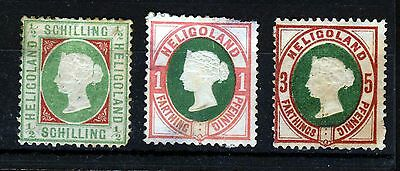 HELIGOLAND Queen Victoria 1869 to 1890 Back of the Book Group SG 5, 10 & 13 MINT