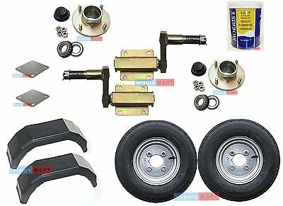 200Kg trailer suspension units with hubs wheels plates grease mudguards - set 12